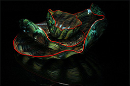 Green Red Barnacle Art Glass Nesting Sets by Robert Kaindl