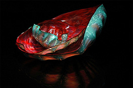 Turquoise Red Black Rimmed Barnacle Art Glass Nesting Sets by Robert Kaindl
