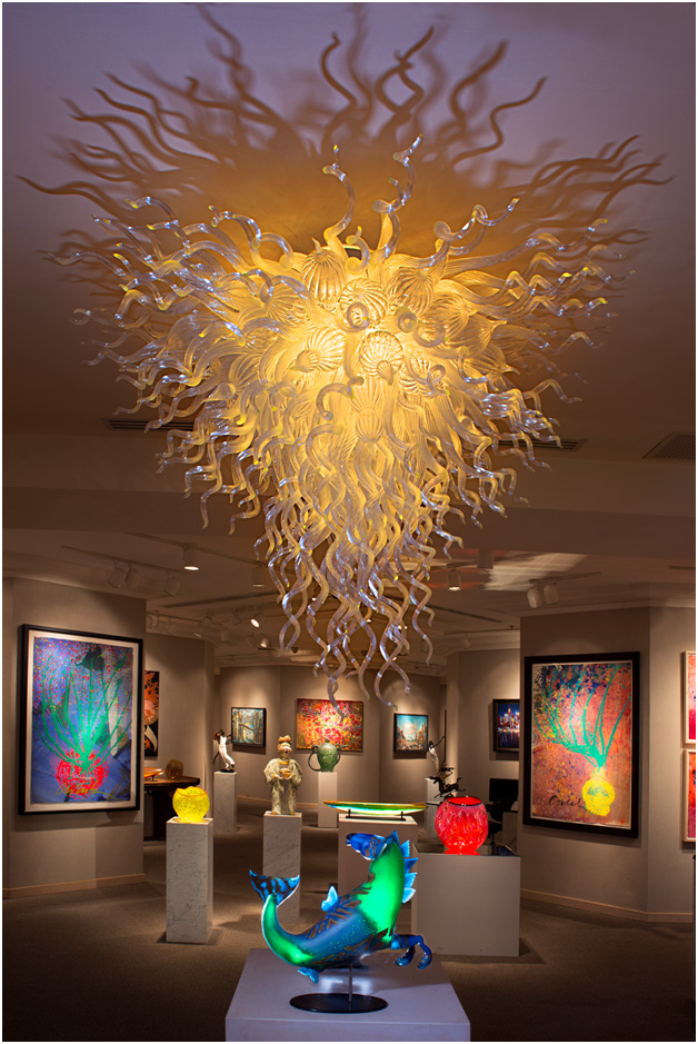 Luxury art glass chandeliers gallery robert kaindl hawaii napua gallery crystal white chandelier aloadofball Gallery