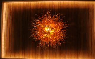 Amber Chandelier - view from directly underneath