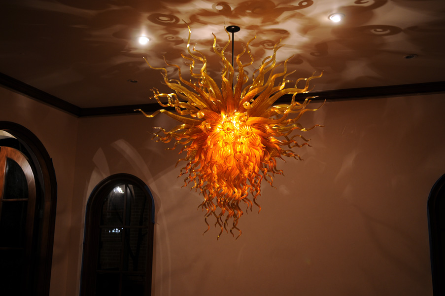 Gold amber orange chandelier art glass chandeliers gallery orange chandelier aloadofball Gallery
