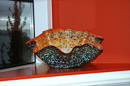 Giant Grey Gray Red Ostrea Bowl Luxury Art Glass by Artist Robert Kaindl