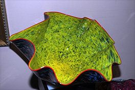 Giant Custom Yellow Ostrea Bowl Luxury Art Glass by Artist Robert Kaindl